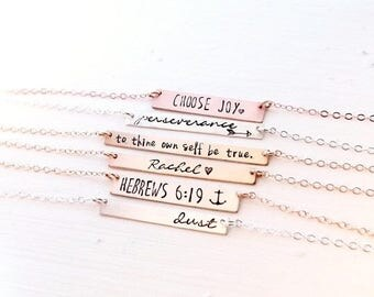 Bar Necklace Personalized. Gold Bar Name Necklace, Silver, Rose Gold, Monogram, Layering Necklace, Bridesmaid Gift, Custom Bar Necklace