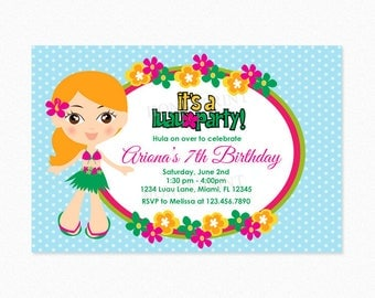 Luau Birthday Party Invitation, Luau Invitation, Hula Girl, Hawaiian, Blond Hair, Personalized, Printable or Printed