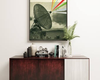Surreal Collage Art Print, Satellite Art - Earth Calling