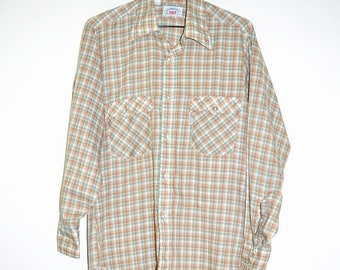 ON SALE Vintage Late 1970's LEVIS Plaid Lightweight Green Brown Shirt Button Up M Medium Levi's