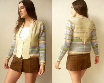 1970's Vintage Rainbow Pastel Stripe Hand Knitted Stripe Cardigan Size Small