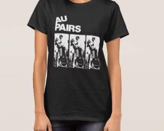 The Au Pairs     T shirt screen print short sleeve     shirt cotton