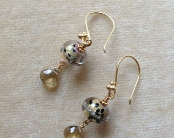 Lampwork, Citrine Briolette, Gold Vermeil Earrings