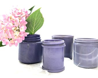 Vintage Purple Bottle Collection  4 Lavender Milk Glass Jars Antique Cosmetic Jar Collection