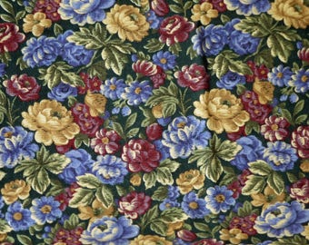 1/4 YARD, Green Blue Yellow Floral Print, Quilting Cotton or Craft Fabric, Pink Tan Roses, Flowers Leaves, 21 x 17, B44
