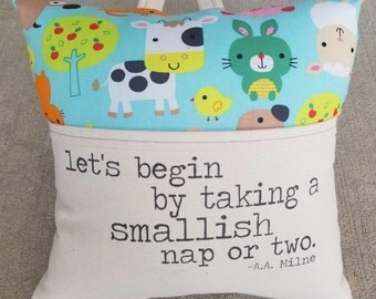 Reading Pillow-Pooh, Let's begin by taking a Smallish Nap or Two, AA Milne- Book Pillow, Travel Pillow