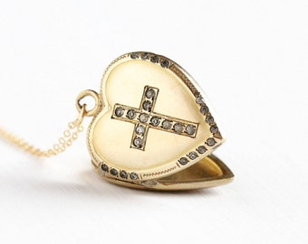 Sale - Vintage Rosy Yellow Gold Filled Rhinestone Heart Cross Locket Necklace - Edwardian 1910s Religious Faith Pendant Jewelry H.F. Barrows