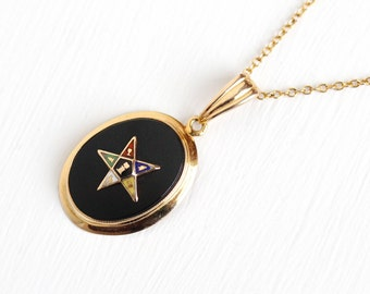 Vintage 10k Rosy Yellow Gold Order of the Eastern Star Necklace - Retro 1950s Black Onyx Gem Enamel Masonic OES Pendant BDA Fine Jewelry