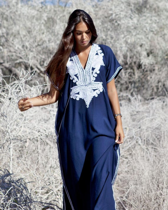 Autumn Dress 20% OFF/ Navy Blue with Silver Boho Marrakech Resort Caftan Kaftan -beach cover ups, resortwear,loungewear,maximbirthdays, hone