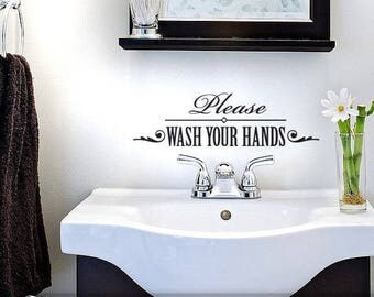 Washroom Decal Wall Decor Sign, Please Wash Your Hands Vinyl Decal Bathroom Quote (0182bN))
