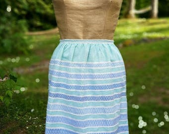 Vintage Apron, Hand Woven, White, Blue and Soft Green, Half Apron, Geometric Pattern, Signed