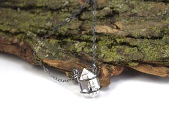 Genuine Herkimer Diamond Necklace - Herkimer Diamond Jewelry - Raw Herkimer Crystal Cage Necklace - Herkimer Jewelry - Large Crystal Q