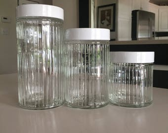 Vintage Glass Containers/ Hoosier Type Ribbed Glass Canister Set/Coffee Canister/Tea Canister/Sugar Canister/ By Gatormom13