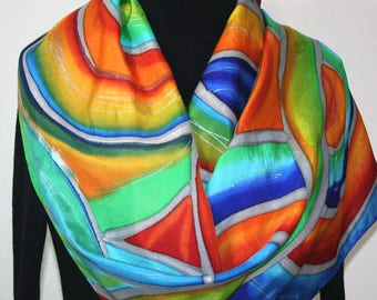 Red, Orange, Green, Blue Hand Painted Silk Scarf SIMPLY MAGIC. Size 14x72. Birthday, Anniversary Gift, Mother Gift. Silk Scarves Colorado