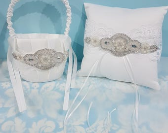 Wedding Ring bearer pillow And flower girl basket set - vintage themed lace - bling pillow - pearls - crystals - rhinetones - sparkly