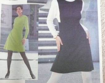 Vogue Attitudes 2772, Misses Fitted A-Line Dress Pattern, Misses Color Block Dress Pattern, Sizes 8-10-12, Uncut and Factory Folded