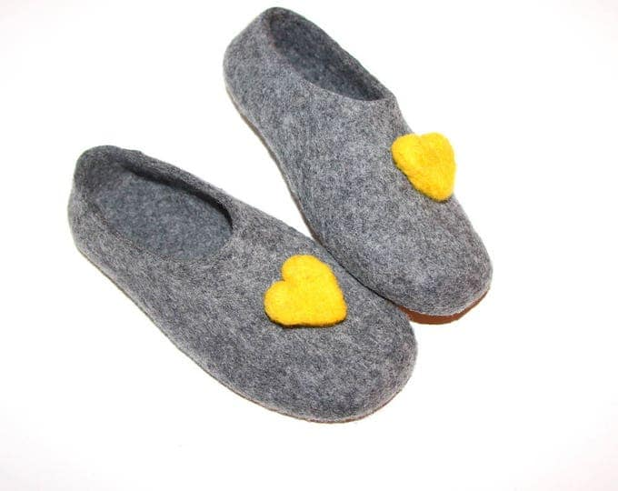 Felted Wool Slippers, Wool Slippers, Clogs, Slippers, Rubber Soles, Indoor Slippers, Wool Shoes, Womens Slippers, In Case Of Cold Feet
