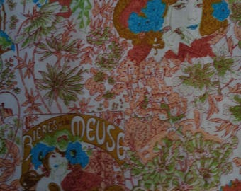 2 Yards and 28 Inches Art Nouveau Multi-Colored Print Quilting/Sewing Crafts