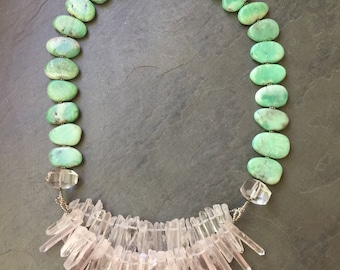 CHRYSOPRASE and QUARTZ points with AnCIENT ROMAn GLaSS   Collar Necklace