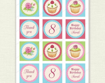 Cupcakes and Roses cupcake toppers - 2 inch party circles, customised party printable, rose flowers and cupcake illustration - Digital CT001