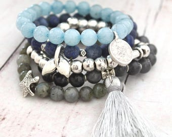 MERMAID- a set of 5 Elastic beaded bracelets Gray and Blue colors silver sea shell and whale tale pendant Beach jewelry Summer inspired