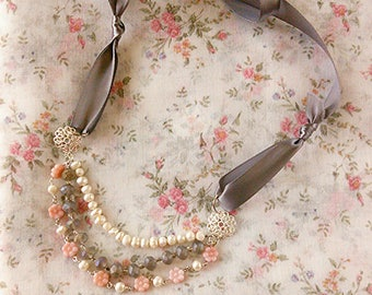 Pink Calico Glass Bead and Freshwater Pearl Necklace