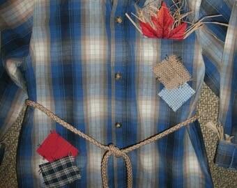 boys size 4T handmade scarecrow costume tan corduroy pants,plaid cotton  shirt , hat,belt  OOAK
