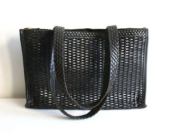 Woven Black Leather Tote Bag