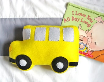 Felt School Bus Pillow / Yellow Bus Shaped Plush Toy / Back to School / First Day of School / Kids Transportation Theme / Boy's Room Decor