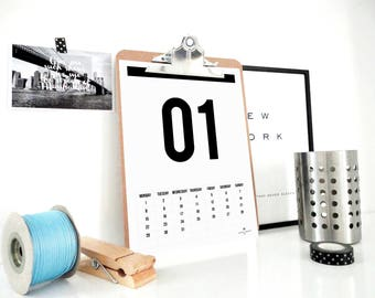 2018 Strong Numbers Printable Calendar, Monthly Calendar, Planner 2018, Hipster Minimal Calendar, Scandinavian Design, Wall Calendar, PDF