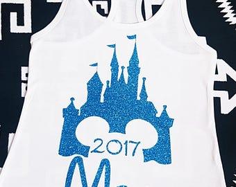 Disney Mom 2017 Castle Tank Ladies Personalized Disney Magic Kingdom Castle Racerback Tank, You Choose Glitter Color, Disney Vacation Tank