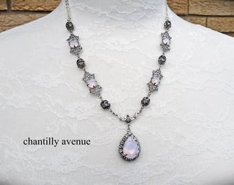 Pink Swarovski Crystal Necklace Opal Bridal Pendant Necklace Rhinestone Chain Victorian Jewelry Handmade