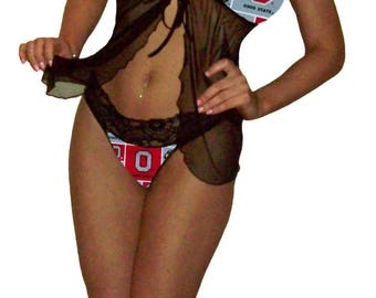 Ohio State Buckeyes Lace Babydoll Negligee Lingerie Teddy Set - XS Extra Small to L Large - PEASE Read Sizing Info - Also in White