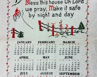 Vintage 1967 Bless This House Linen Tea Towel Calendar Kitchen Linens