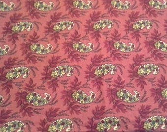 Lyon by Waverly Home Decor Cotton Fabric  1 1/4 Yards X0973 Burgundy Paisley Screen Print