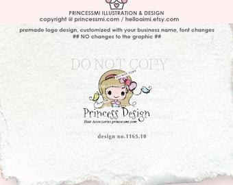 1165-10  girl logo, child business logo,  kids logo, boutique logo, girl business,watermark design, cute girl design.