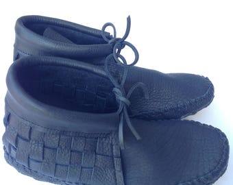 Black Woven Leather Adult Moccasin