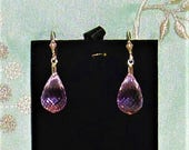 Natural 33cts Briolette cut Soft Pink Topaz gemstones, Sterling Silver leverback Earrings