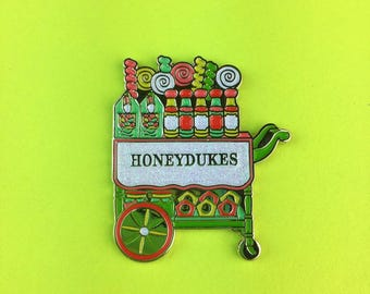 Harry Potter Enamel Pin Honeydukes Trolley Glitter Holiday Limited Edition Flair Badge - Stocking Stuffer Gift