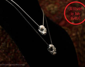 Xmas in July Sale Ready to Ship Sterling Silver Bat Skull Charm with Sterling Silver Chain