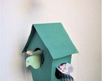 Mobiles--Teal Bird House Mobile
