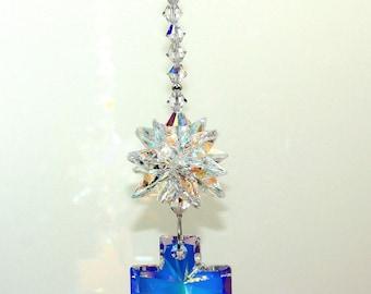 m/w Swarovski® Crystal 40mm AB (Aurora Borealis) Cross & Star Burst SunCatcher Car Charm Home Window Ornament, Pearl Place N More