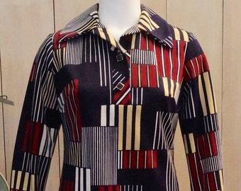 Free Shipping! Vtg. HENRY LEE Geometric Pattern Polyester Shift Dress- SIze 6-8