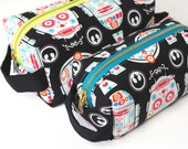 Calavera Droids Boxy Bag with Metal Zipper - Makeup Bag / Pencil Bag/Toiletry Bag