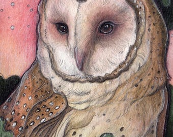 "Pink Sky Owl....Original 5""x7"" Illustration"
