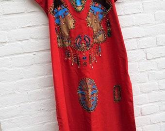 Vintage embroidered kaftan, Egyptian Caftan, Pharaoh Sphinx 70s-80s Red Maxi Dress Egypt   size free