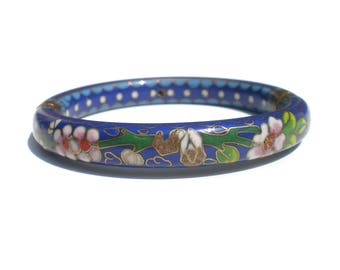 Blue Flower Cloisonne Bangle Bracelet with Pink and White Flowers & Branches - Asian Enamel Vintage Jewelry