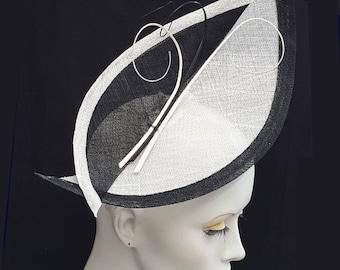 Large boat shape black and white fascinator hatinator sinamay - black and white quills  headband fixing wedding Ascot races hat