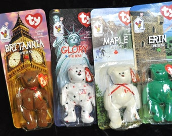Vintage Complete Set of 4 ty International Bears/McDonalds Beanie 90s Toys Collectibles Plush Erin Maple Glory Britannia NIP IOB Charity