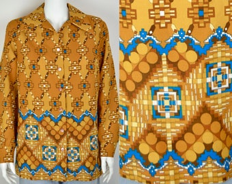 1970s women's shirt wide dagger collar 16 18 XL XXL B44 | psychedelic geometric border print crepe vintage 70s yellow mustard blouse top